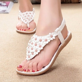 Summer-Bohemia-Style-Sandals-Shoes-Clip-Toe-Flowers-Flat-Shoes-With-Elastic-Band-For-Women-Beige
