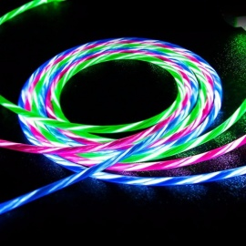 LED Light Up Luminous Streamer Micro USB / Type-C / Lightning To USB Fast Charging Data Cable For IPHONE, Android Phones Red/MICRO USB