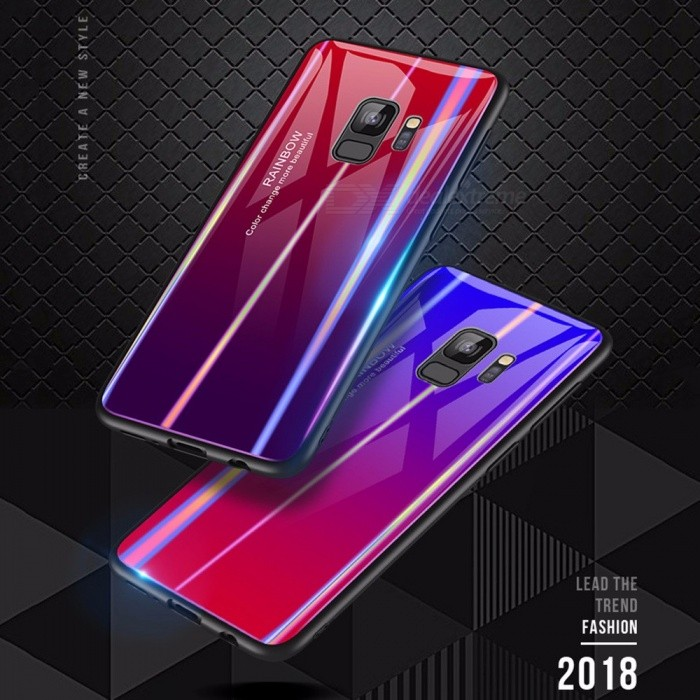 Ultra Thin Durable Shockproof Gradient Color Tempered Glass Mirror Back Cover Case For Samsung S9, S9 Plus