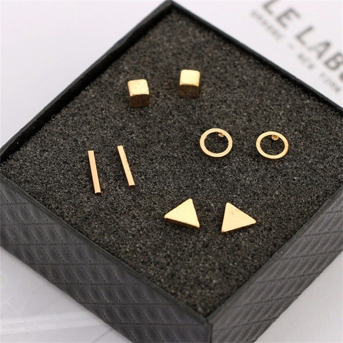 Women Simple Earring Sets Geometry Round Triangle Shape Gold/Silver/Black 4Pairs Stud Earrings Christmas Gift
