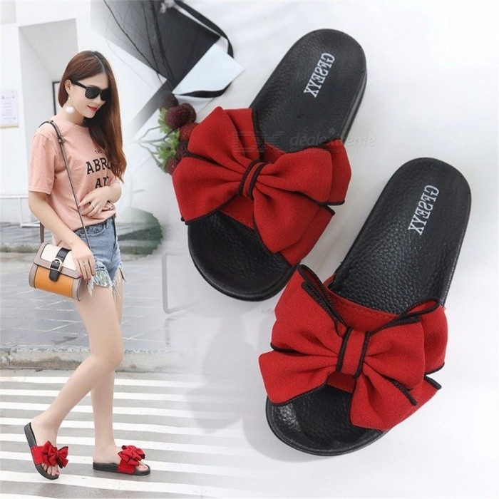 Womens-Bow-Large-Size-Summer-Slippers-Suede-Breathable-Wear-Non-slip-Indoor-High-rise-PU-Slippers-Black35