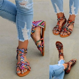 Fashion-Design-National-Style-Colorful-Gladiator-Sandals-Women-Colorful-Appliques-Flat-Shoes