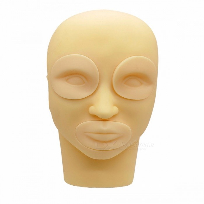 Detachable 3D Silicone Training Mannequin, Practice Make Up Eye Lashes Eyelash Tattoo Flat Head Mould Beige