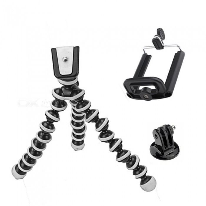 XSUNI Flexible Octopus Camera Tripod for Gopro, IPHONE, Mobile Phone With Phone Clip