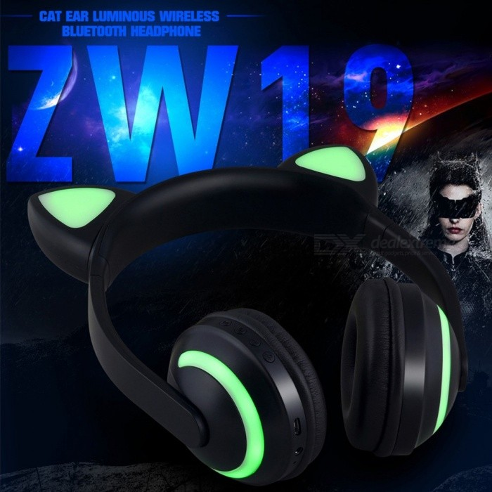 Cat Ear Wireless Bluetooth Headphones Luminous Bluetooth Headset With Microphone Comfortable 7 Colors Changing Black
