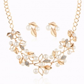 634ac1132 Elegant Rhinstones Decorated Leaves Pearl Necklace Stud Earrings Jewelry  Sets For Women Gold