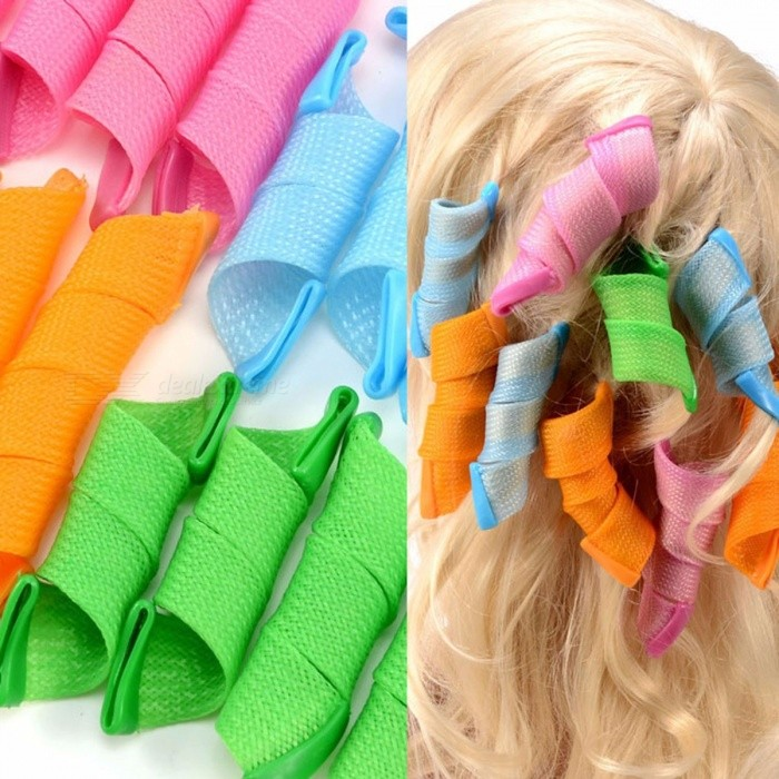18pcs DIY Magic Hair Curler Curlers Formers Spiral Styling Rollers Hairdressing Accessories