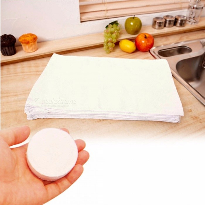 5Pcs Magic Mini Compressed Towel Cotton Face Washcloth Camping Travel Reusable Soft Compressed Towels White