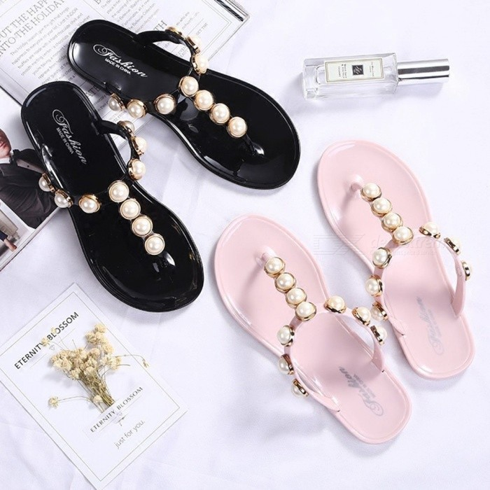 2018-New-Women-Bohemian-Style-Flat-With-Pearl-Slippers-For-Womens-Summer-Exposed-Toe-Flat-Anti-skid-Beach-Sandals-Black36