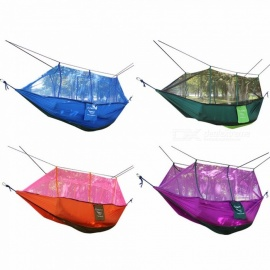 Double Hammock With Mosquito Mesh Garden Parachute Cloth Camping Leisure Hammocks(Blue/Green/Orange/Purple)