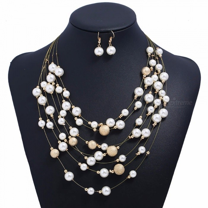 Stylish Multi Layer Matte Beads Pearl Necklace Earrings Set