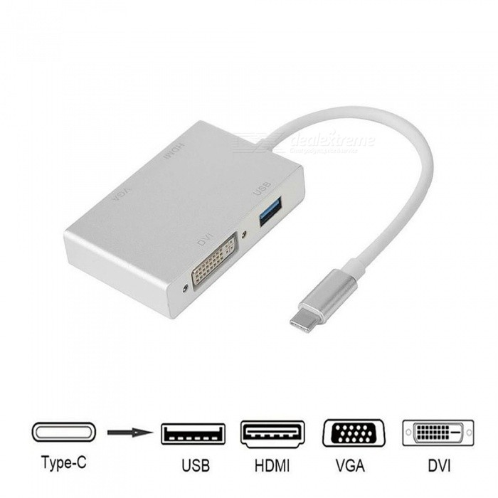 Cwxuan USB C Type C to HDMI VGA DVI USB3.0 Adapter 4in1 USB 3.1 USB-C Converter Cable for Laptop Macbook Google Chromebook Pixel