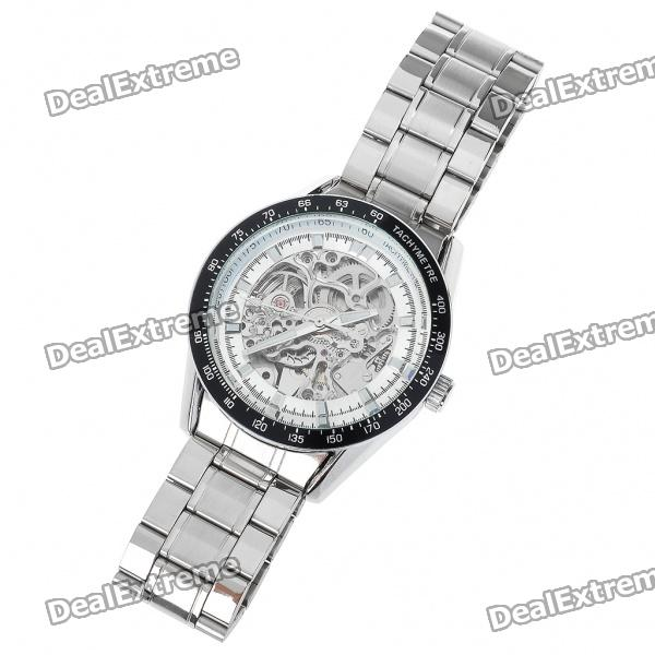 Buy Wilon Manual-Winding Mechanical Wrist Watch - Silver + Black + White with Litecoins with Free Shipping on Gipsybee.com