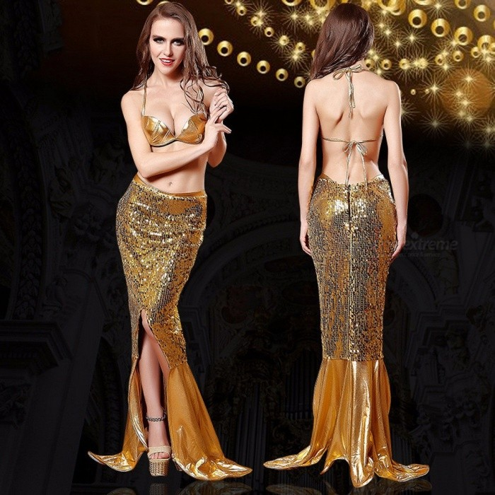 Sexy Costumes Role Play Mermaid Sequins Bra Skirt Two-Piece Suit For Women Sexy Lingerie Halloween Party Cosplay Dress Gold/M/Other