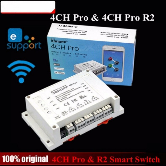 Sonoff 4CH Pro R2 Smart Wifi Switch Home 433MHz RF Wifi Light Switch 4 Gang 3 Working Modes White