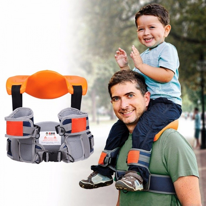 Hands-Free-Shoulder-Carrier-Nylon-Child-Strap-Rider-For-2-5-Years-Old-Kids-Baby-Safest-Kangaroo-Wrap-Sling-Suspenders-OrangeOneSize