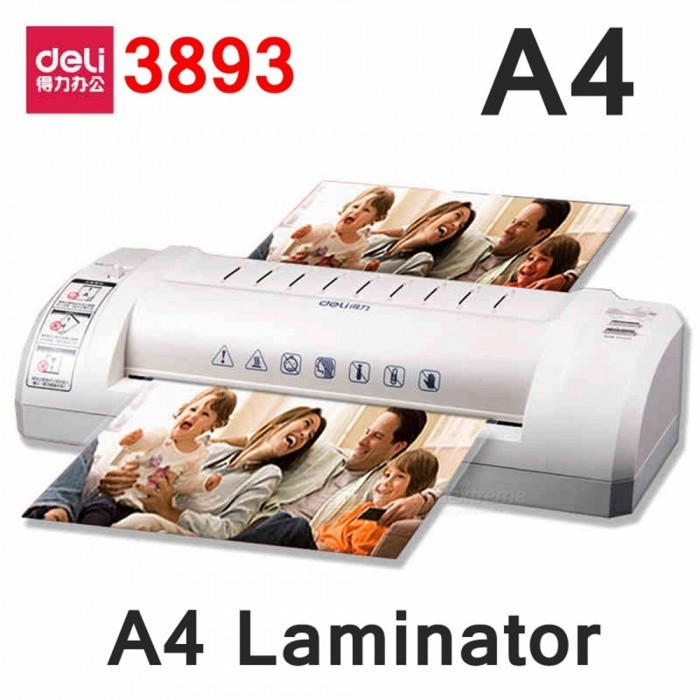 Deli 3893 Hot Pouch Laminator 220VAC A4/A5 Size Photo Documents Laminator Temprature Gear With Urgency Stop