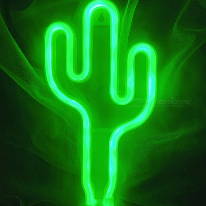 Cactus Shaped Novelty Neon Lights Battery Powered Led Decorative Fairy Lights Night Light Party Light Green/Clear/0-5W