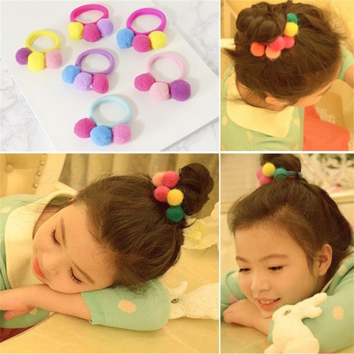 Children's Hair Ring Korea Tie Hair Ball Fluffy Girls Rubber Band Headdress Colorful Cute Baby Hair Accessories Pink