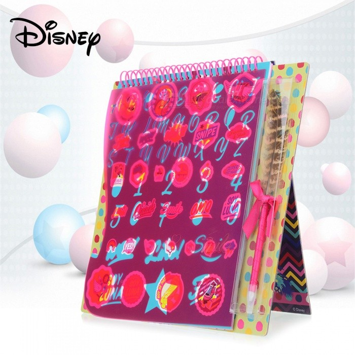 Disney-SOY-LUNA-Multifunctional-Cute-Copybook-Notebook-With-Feather-Pen-For-Kids-Children-Multicolor