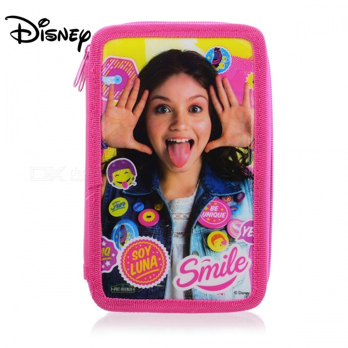 SOY LUNA Disney Cartoon Double Layer Stationery Pencil Case Kit With Pencil, Eraser, Ruler, Etc For Kids Children Purple