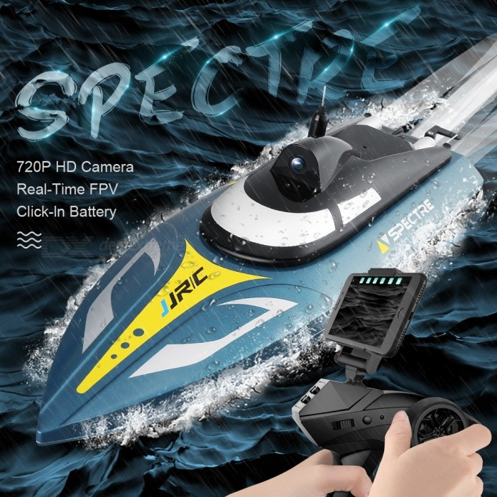 JJRC S4 SPECTRE Wi-Fi FPV RC Boat with 720P HD Camera, Capsize Recovery, Built-in Water Cooling System - Blue