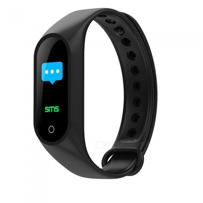 M3 Color Bluetooth Smart Bracelet with Exercise Heart Rate / Blood Pressure / Sleep Monitoring, Wechat Exercise - Black