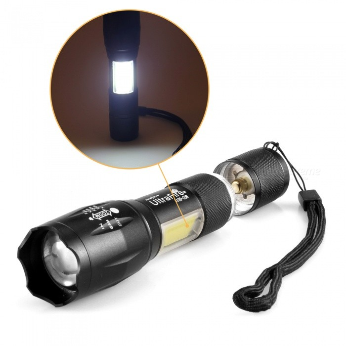 A100-COB Dual Light Source 800 Lumens 4 Mode Zoomable Waterproof Flashlight - Black