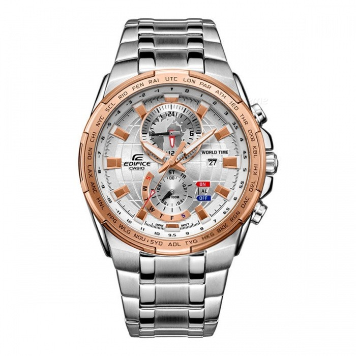 Casio Edifice EFR-550D-7A Dual Dial World Time Watch - Pink Gold