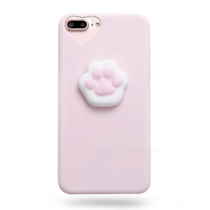 Ultra Slim Thin TPU Phone Case With Cat's Paw Shape Soft Back Pendant, Pressure Relief Shell For IPHONE 7 Plus, 8 Plus Pink
