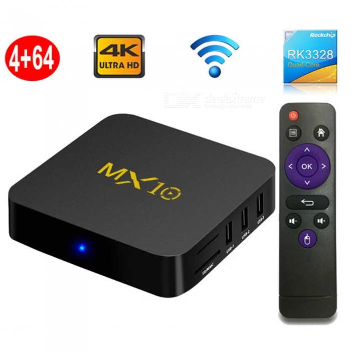 MX10 Smart TV Box, Android 8.1 RK3328 Quad-Core 4k HD Wi-Fi USB3.0 Set-top Box Media Player with 4GB RAM, 64GB ROM