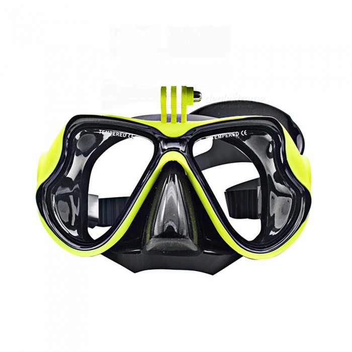 XSUNI YJ-001 Tempered Glass Diving Snorkeling Scuba Mask, Adult Silicone Swimming Glasses for Gopro - Black + Yellow