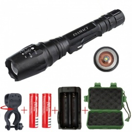 ESAMACT Portable T6 Zoomable LED Rorch Flashlight with 2Pcs 18650 Batteries and Charger