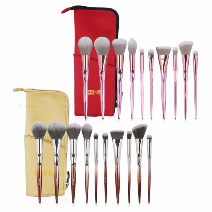MAANGE-MAG5626-10pcs-Plastic-Handle-Cosmetic-Brushes-Set-Soft-Durable-Powder-Eye-Brush-Suit-With-Storage-Bag-Pink