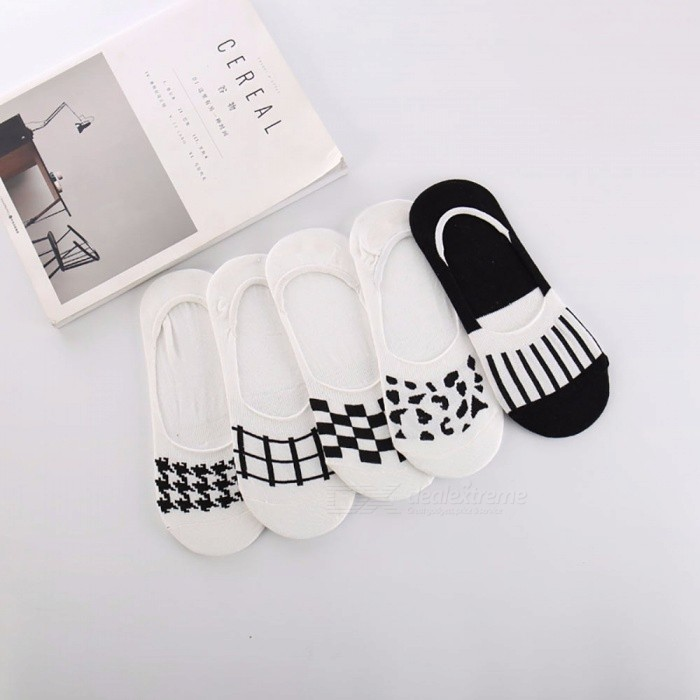 5 Pairs Fashion Mens Boat Socks Check Pattern Casual Summer Spring Thin Cotton Invisible Socks For Men Multi