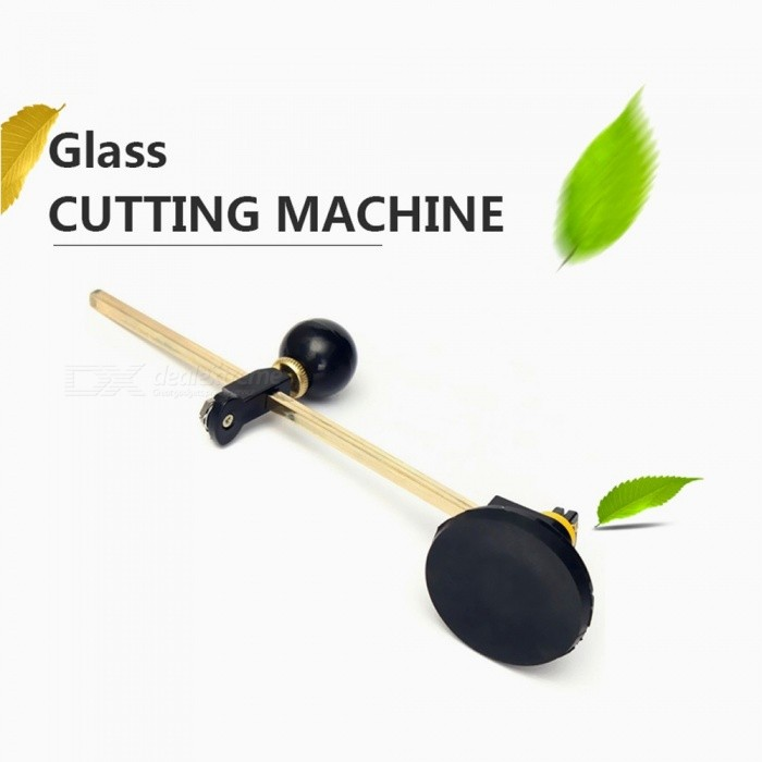40cm Glass Cutter, 6 Wheel Compasses Circular Cutting Tool With Suction Cup Black