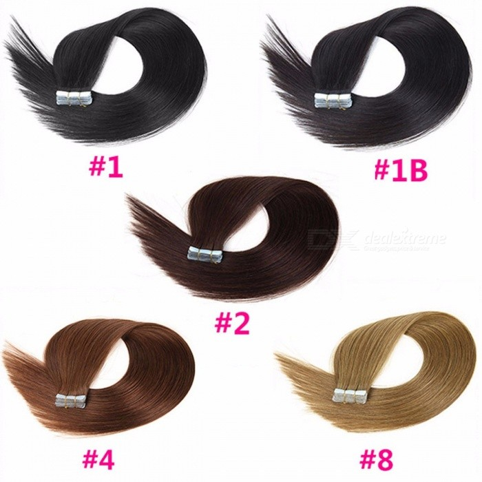 Buy 100% Original Human Hair Bundles, 18 Inches PU Non-Remy Tape Hair Extension (20 PCS) #1/18 inches/20 pcs with Litecoins with Free Shipping on Gipsybee.com