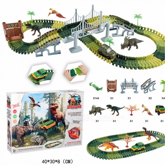 144Pcs Military Imitation DIY Electric Assembling Dinosaur Track Car, Building Blocks Toy Gift For Kids Children Army Green