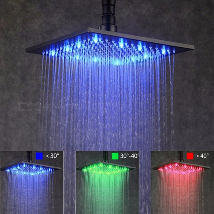 8 Inches Stainless Steel Rgb Led Rain Shower Head Black