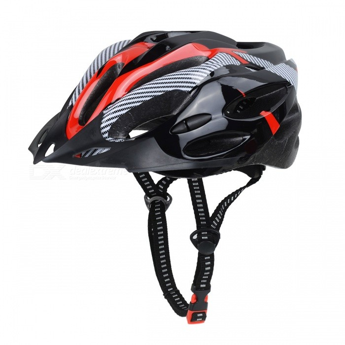 21-Hole Adjustable Lightweight Carbon Fiber Bicycle Cycling Helmet for Men, Women - Black Red
