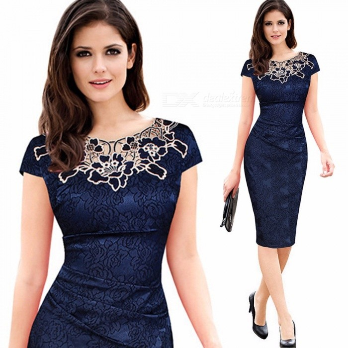 Women's Summer Dress Fashion Embroidery Elegant Retro Short Sleeve Rose Lace Round Neck Pencil Dresses For Women Blue/S