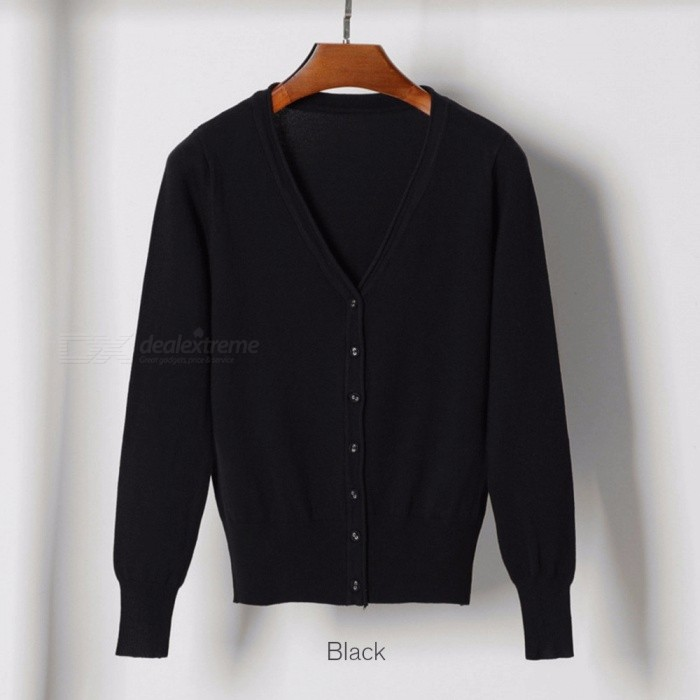 d361df908 Women Cardigan Sweater V-neck Knitted Jacket Sweater Casual Pull ...