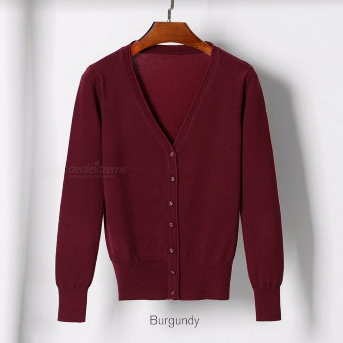 Periodo perioperatorio furgone respirare  Women Cardigan Sweater V-neck Knitted Jacket Sweater Casual Pull Femme  Solid Loose Cardigans Womens Sweaters Beige/M - Free shipping - DealExtreme