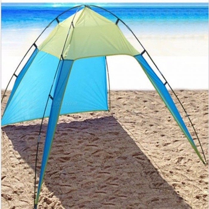 Portable Outdoor Beach Canopy Sun Shade Triangle Tent Shelter For Camping Fishing Black