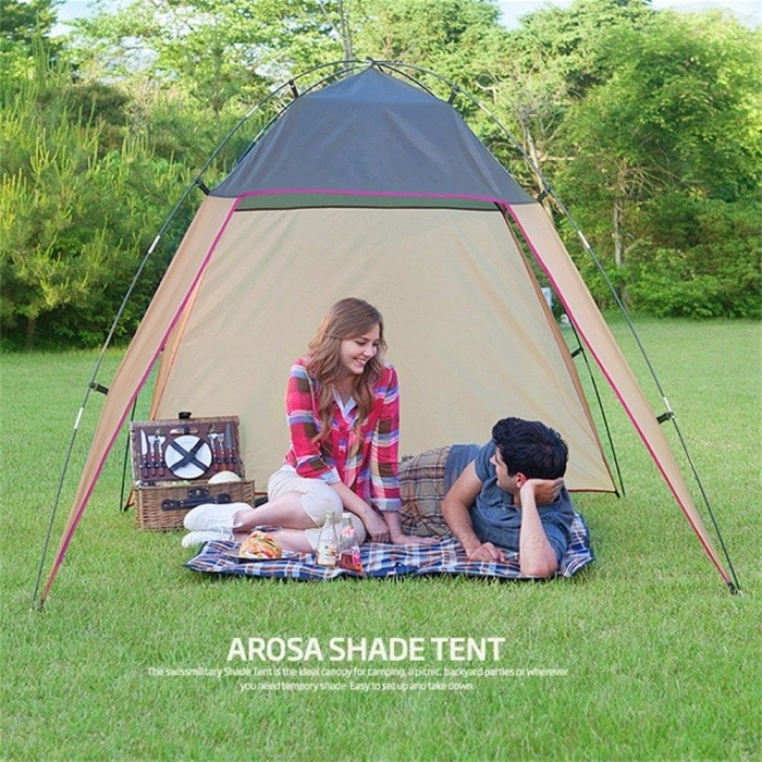 Portable Outdoor Beach Canopy Sun Shade Windproof Sunproof Large Tent Shelter For Camping Fishing Picnic Beige
