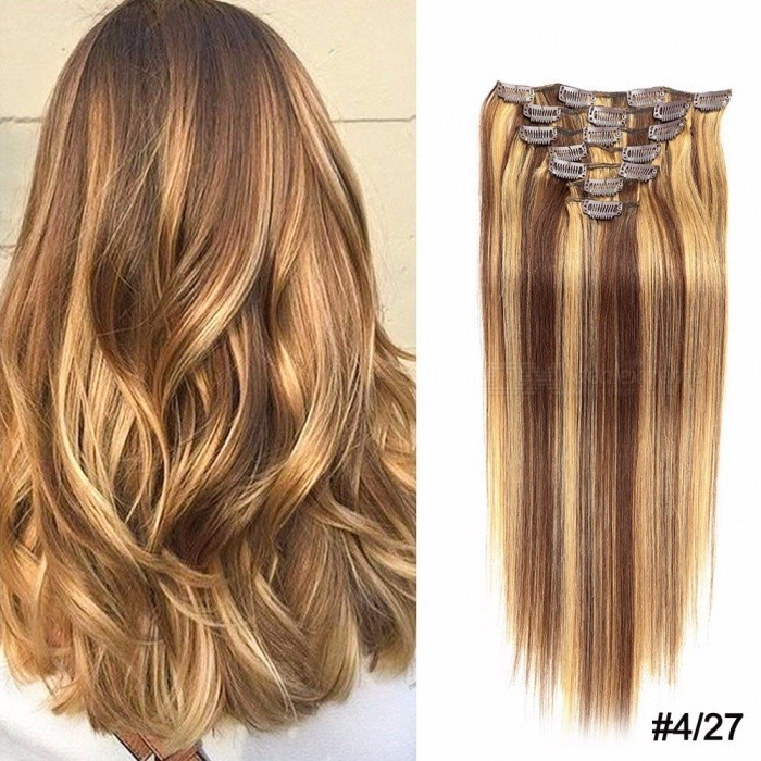7pcsset 20 Inches Light Blonde Clip In Hair Extensions Human Hair