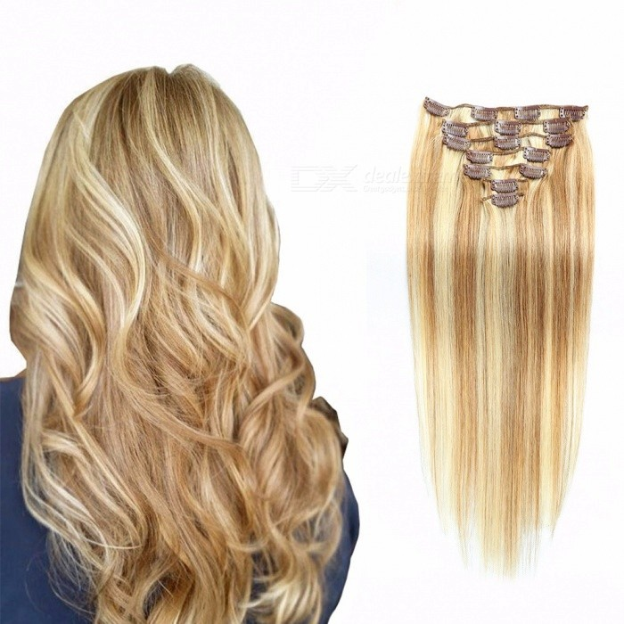 20 inches 7pcs / set piano kleur clip in straight human hair extensions voor vrouwen # 4/613/20 inches
