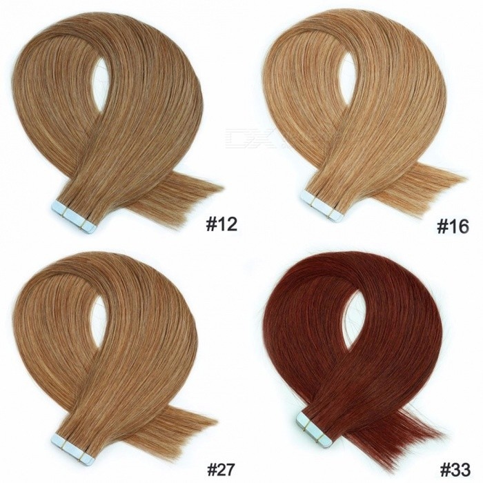 20 Stks / Set 16 Inches Zachte Rechte Tape In Human Hair Extensions Voor Vrouwen 30 G / Set # 12/16 Inches / 20 Stks