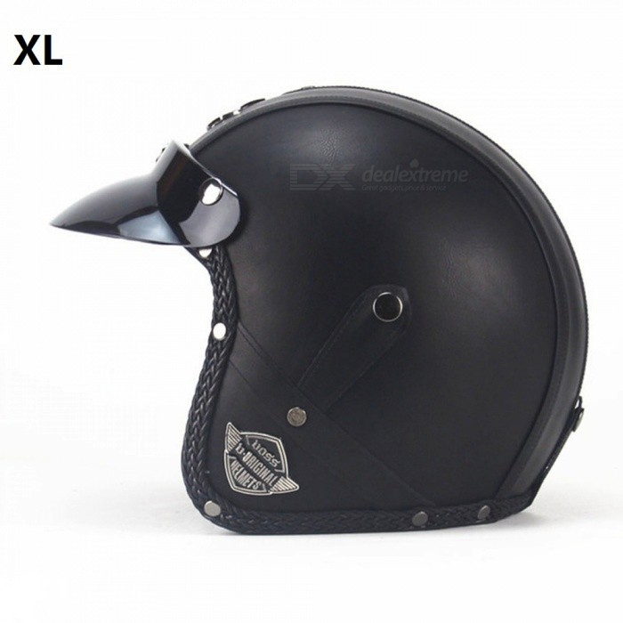 ZHAOYAO Retro Style PU Leather Helmet, 3/4 Motorcycle Chopper Bike Helmet - VS Classic Black (XL)