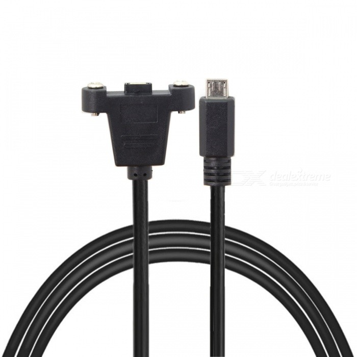 CY Panel Mount Type Mini USB 5Pin Male to Female Extension Adapter Cable with Screws 50cm
